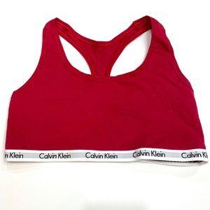 Calvin Klein Logo Cotton Red Bralette Medium